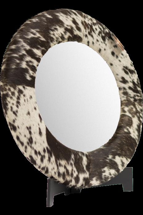 Round Cowhide Mirror